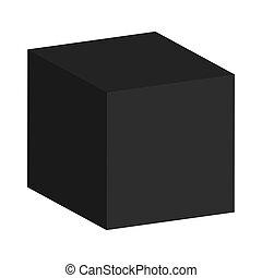 black cube - Abstract black cube on a white background for...