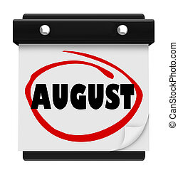 August Word Wall Calendar Change Month Schedule