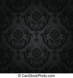 Seamless black floral wallpaper - Luxury seamless black...