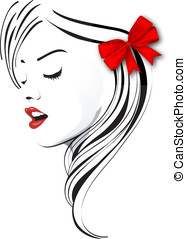 Lady with a red bow