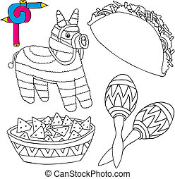 Coloring image Mexico collection 02 - vector illustration