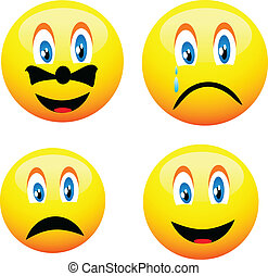 Smileys - Four beautiful cute yellow smiley for various...
