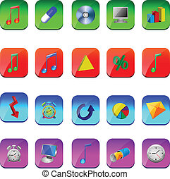 square icons - A small collection of colored icons and...
