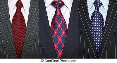 pinstripe, trajes, corbatas