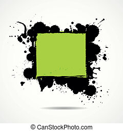 Green and black ink add text your space, vector illustration