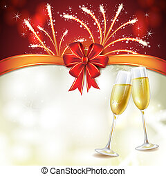 Champagne glasses with bow and fireworks