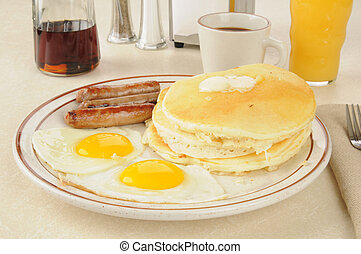 Sausage and eggs with pancakes - Sausage and egg breakfast...