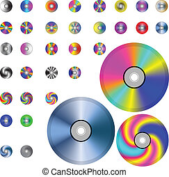 CD - A small collection of colorful CD drives for various...