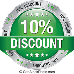 10 percent discount green button - 10 percent discount green...