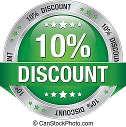 10 percent discount green button - 10 percent discount green...