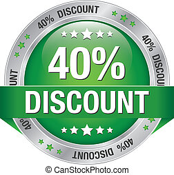 40 percent discount green silver button isolated
