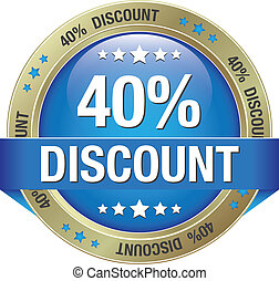 40 percent discount blue gold button isolated