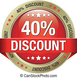 40 percent discount red gold button
