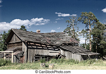 Collapsing  - A collapsing wooden farmhouse in rural Russia