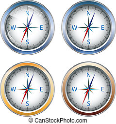 compass - Four abstract icons in the form of a compass for...
