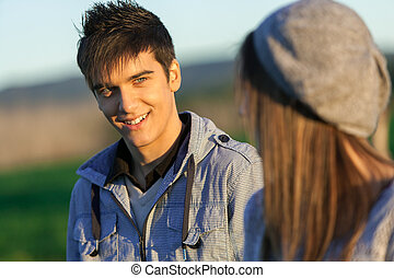 Portrait of handsome boy in countryside. - Portrait of...