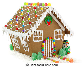 Gingerbread House and Snowman on the White Background