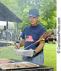 At a 4th of July Picnic Grill