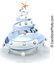 Christmas tree - 3D render of a metallic Christmas tree