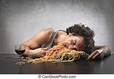 man with spaghetti - tired man fell into a plate of...