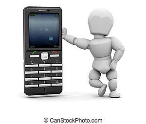 Person with mobile phone - 3D render of person with mobile...
