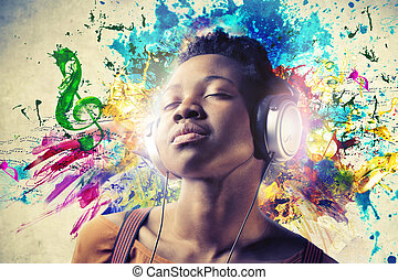 Woman listening to music with colours
