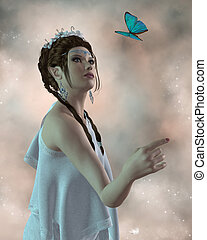 Fairy and Butterfly - A beautiful fairy waits for a blue...
