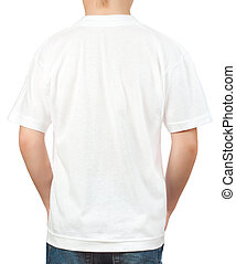 white t-shirt on a young man back - white t-shirt on a young...