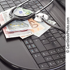 Stethoscope lying on the keyboard