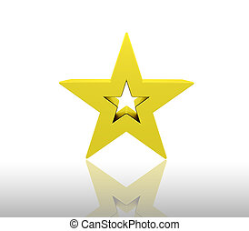 Gold star - 3D render of a gold star