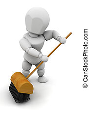 Sweeping up - 3D render of someone sweeping with a brush