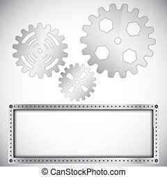 metal_gears - Abstract background with gears on circular...