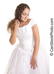 Modesty - Pretty bride in a white dress with modesty...
