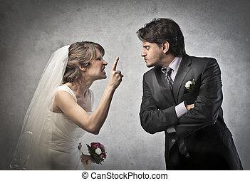 pareja, enojado, boda