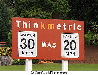 Think Metric - Thinkmetric sign at a US / Canada border...