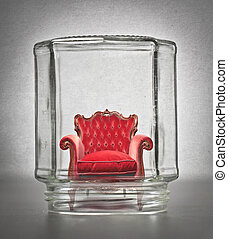Red sofa in jar