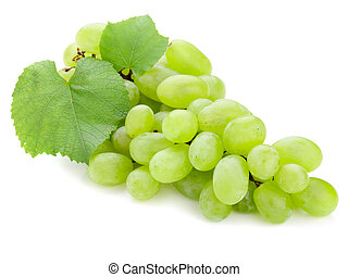 Green Grape - green freshness grape on the white background