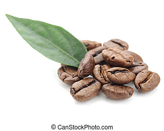coffee grains and leaf - coffee grains and leaves isolated...