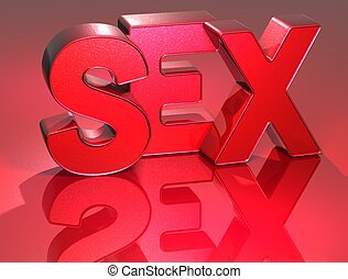 3D Word Sex on red background