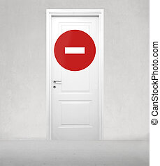 Door with stop sign