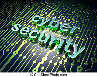 Security concept: circuit board with word cyber security, 3d...
