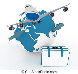 airliner and suitcase on white - airliner and suitcase on...