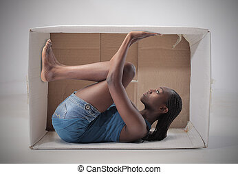 Woman in box - Woman stuck in box