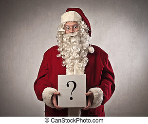 santa clause with question mark on box