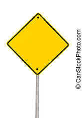 Blank Road Sign with Pat - Blank yellow road warning sign...