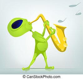 Cartoon Alien - Cartoon Character Funny Alien Isolated on...