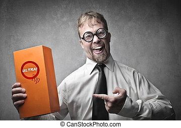 Businessman promoting orange box