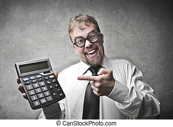 Businessman with calculator - Businessman pointing at...