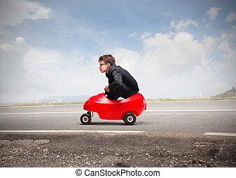 Boy in car - Boy in mini car