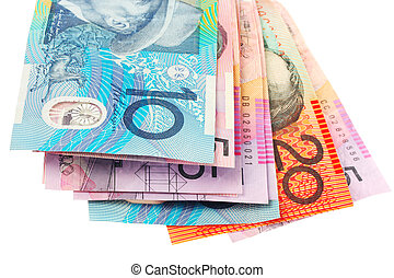 Australian Money - Australian currency, over white.